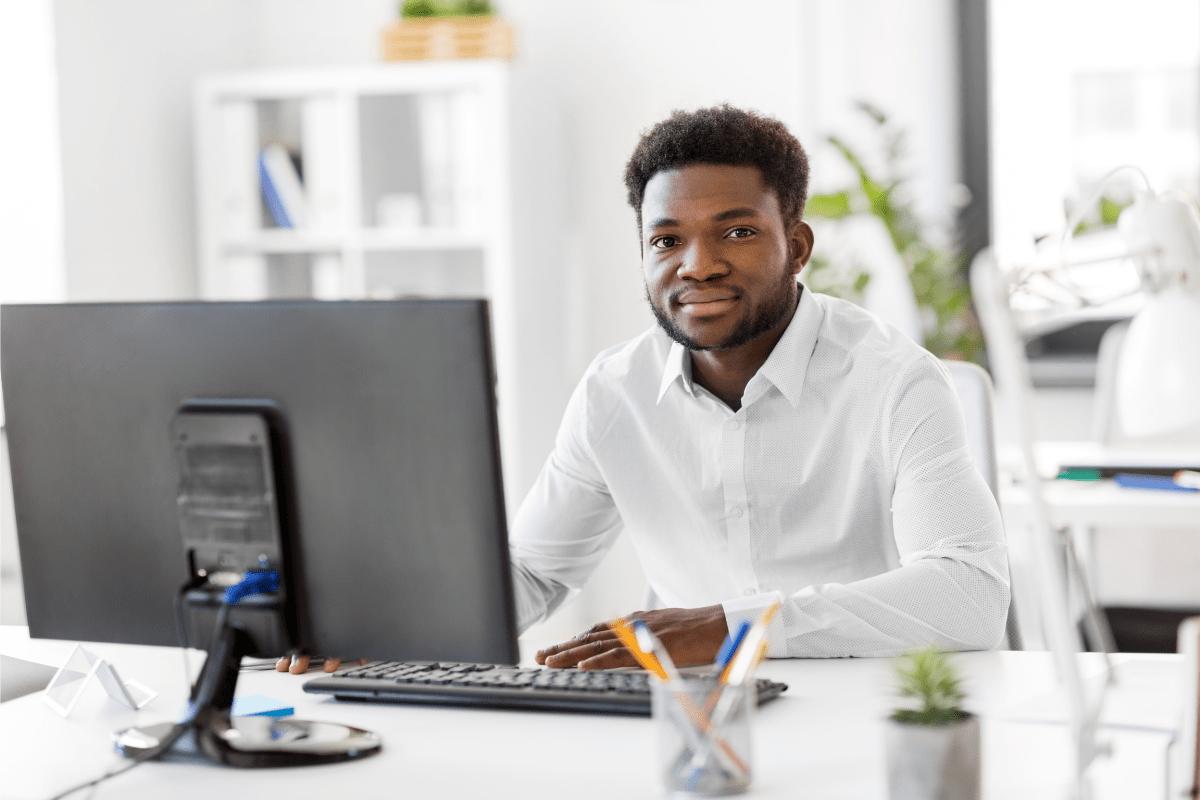 Man working at his dedicated desk
